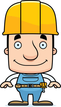 tool belt: A cartoon construction worker man smiling.