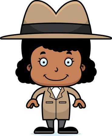 A cartoon detective girl smiling.