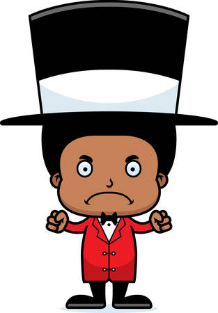 ringmaster: A cartoon ringmaster boy looking angry. Illustration