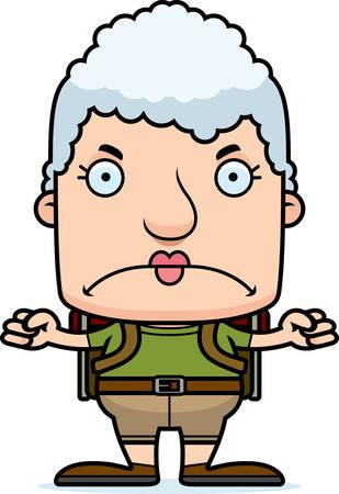 hiker: A cartoon hiker woman looking angry. Illustration