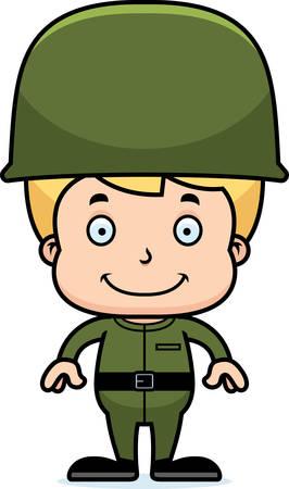 A cartoon soldier boy smiling. Illusztráció