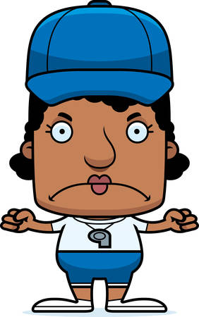 A cartoon coach woman looking angry. Illustration