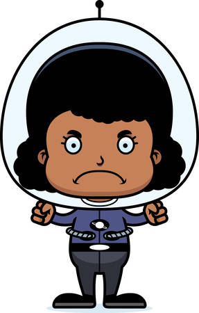 spaceman: A cartoon spaceman girl looking angry.
