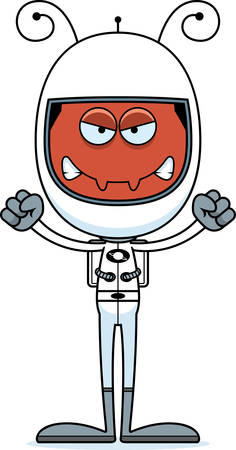 spacesuit: A cartoon astronaut ant looking angry. Illustration