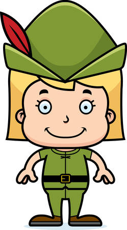 A cartoon Robin Hood girl smiling. Stok Fotoğraf - 44674144