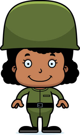 army girl: A cartoon soldier girl smiling.