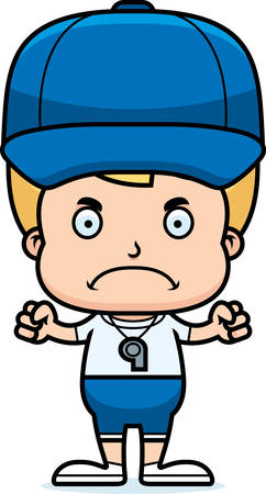 A cartoon coach boy looking angry. Illustration