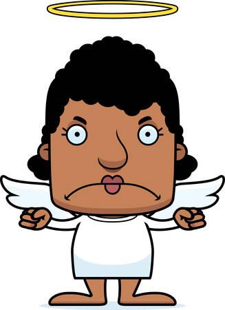 angry angel: A cartoon angel woman looking angry.