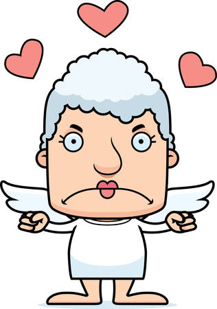 A cartoon cupid woman looking angry. Ilustrace