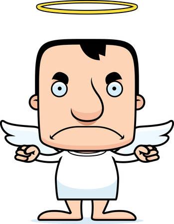 angel: A cartoon angel man looking angry.