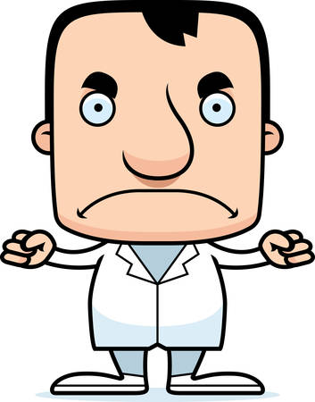 A cartoon doctor man looking angry. Ilustração
