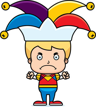 jester: A cartoon jester boy looking angry.