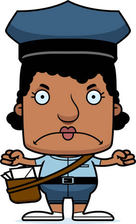 A cartoon mail carrier woman looking angry.