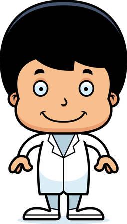 A cartoon doctor boy smiling. Ilustração