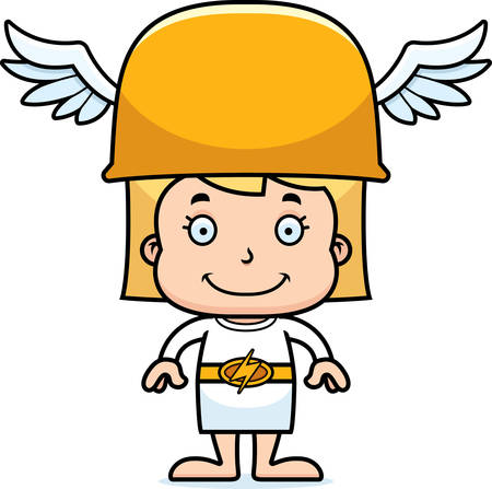 hermes: A cartoon Hermes girl smiling. Illustration
