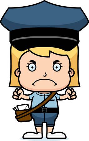 Een cartoon postbode meisje op zoek boos. Stock Illustratie