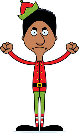 A cartoon Xmas elf man looking angry. Illustration