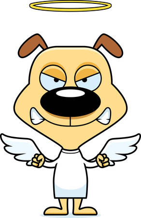 A cartoon angel puppy looking angry.