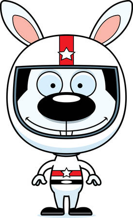 daredevil: A cartoon race car driver bunny smiling. Illustration