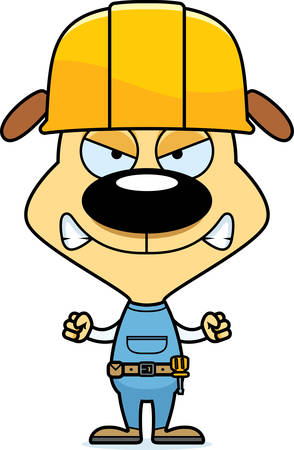 tool belt: A cartoon construction worker puppy looking angry.
