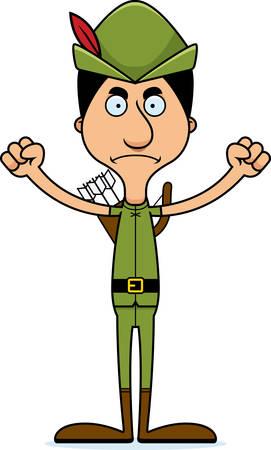 robin hood: A cartoon Robin Hood man looking angry.