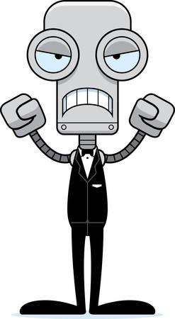 A cartoon groom robot looking angry.