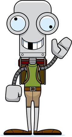 hiker: A cartoon hiker robot looking silly.