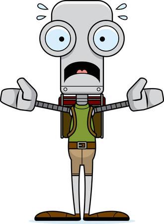 hiker: A cartoon hiker robot looking scared. Illustration