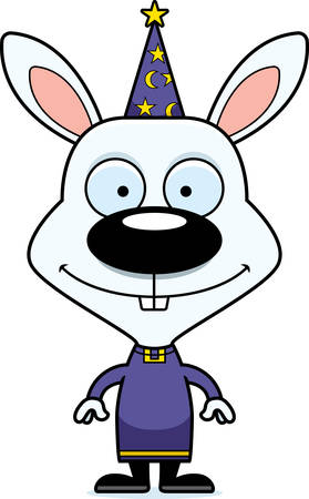 A cartoon wizard bunny smiling. Ilustrace