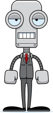 businessperson: A cartoon businessperson robot looking bored. Illustration