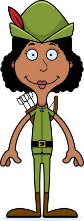 A cartoon Robin Hood woman smiling. Stok Fotoğraf - 44708977