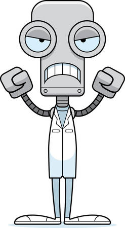A cartoon doctor robot looking angry.