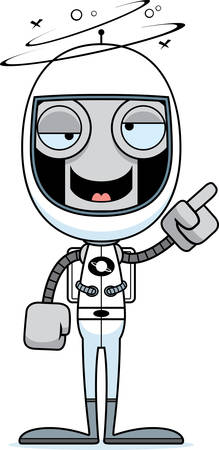 spacesuit: A cartoon astronaut robot looking drunk.