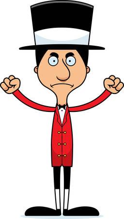 ringmaster: A cartoon ringmaster man looking angry.