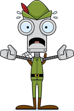robin hood: A cartoon Robin Hood robot looking scared. Illustration