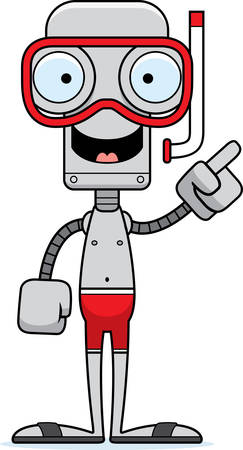 A cartoon snorkeler robot with an idea. Stock Illustratie