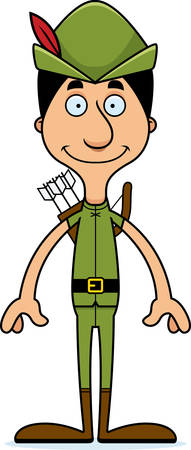 A cartoon Robin Hood man smiling.