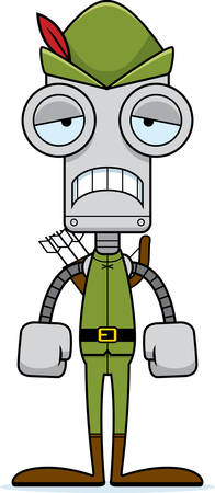 A cartoon Robin Hood robot looking sad.