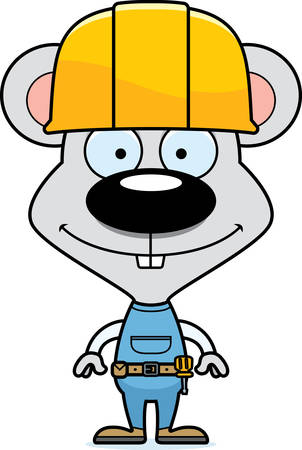 mouse animal: A cartoon construction worker mouse smiling.