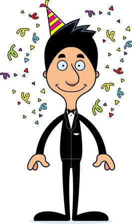 party cartoon: A cartoon party man smiling.