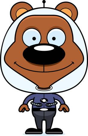 spacesuit: A cartoon spaceman bear smiling. Illustration
