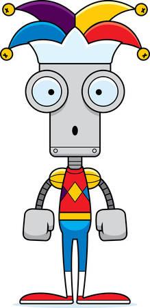 A cartoon jester robot looking surprised. Ilustrace