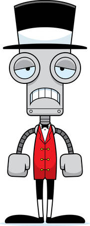 ringmaster: A cartoon ringmaster robot looking sad.