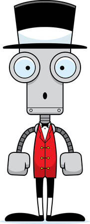 ringmaster: A cartoon ringmaster robot looking surprised. Illustration