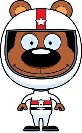 daredevil: A cartoon race car driver bear smiling. Illustration