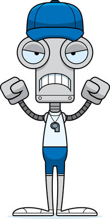 A cartoon coach robot looking angry.