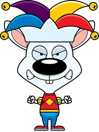 A cartoon jester bunny looking angry. Reklamní fotografie - 44711636