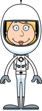 spacesuit: A cartoon astronaut woman smiling.