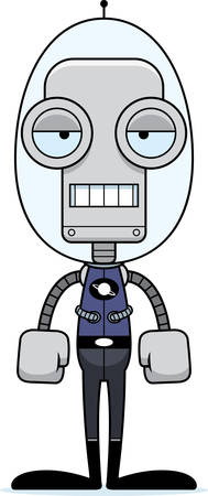 spacesuit: A cartoon spaceman robot looking bored. Illustration