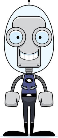 spacesuit: A cartoon spaceman robot smiling. Illustration